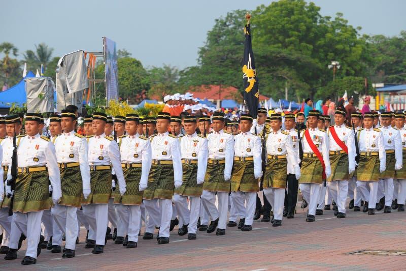 31 kuantan-augustus: Malaysians nemen aan Nationale Dagparade deel, vierend de 58ste verjaardag van onafhankelijkheid op 31 Augus stock afbeelding