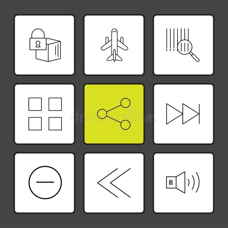 kub aktie, kvarter, högtalare, användargränssnittsymboler, pilar, royaltyfri illustrationer
