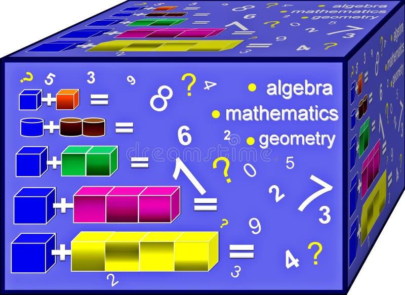 Kub av färgrik algebra Bakgrund illustration 3d royaltyfri illustrationer