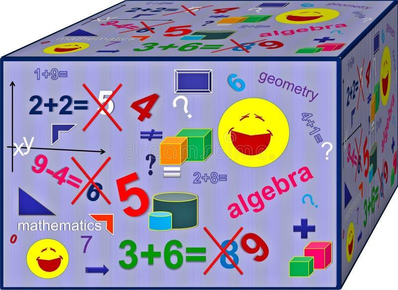 Kub av färgrik algebra Bakgrund illustration 3d stock illustrationer