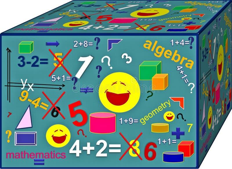 Kub av färgrik algebra Bakgrund illustration 3d vektor illustrationer