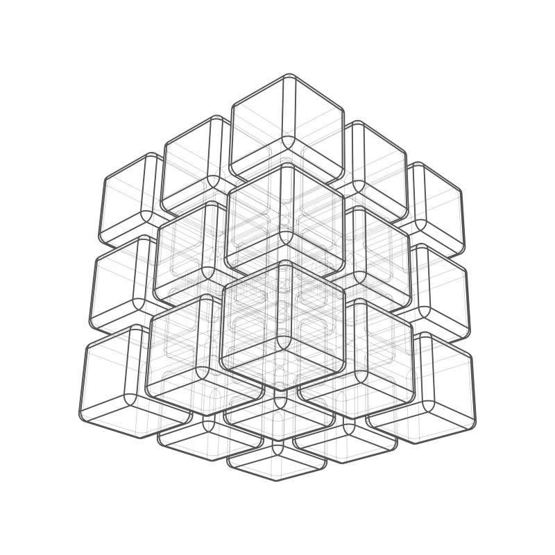 Kub 3d vektor illustrationer