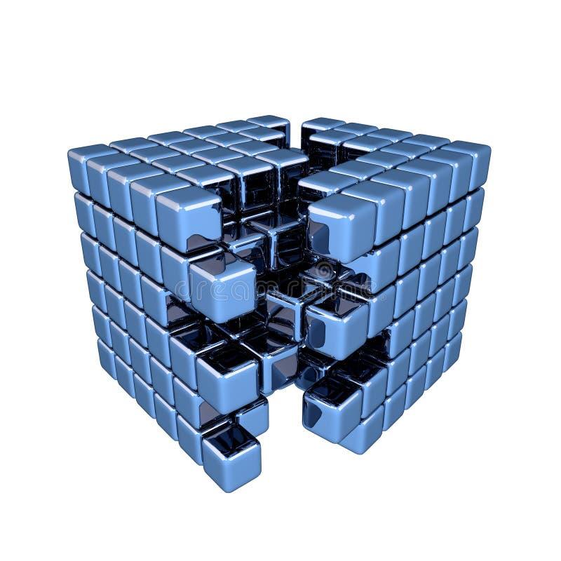 kub för blått 3D royaltyfri illustrationer