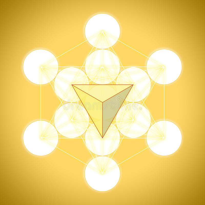 Kub för Metatron ` s med platoniska heltäckande - tetrahedron stock illustrationer