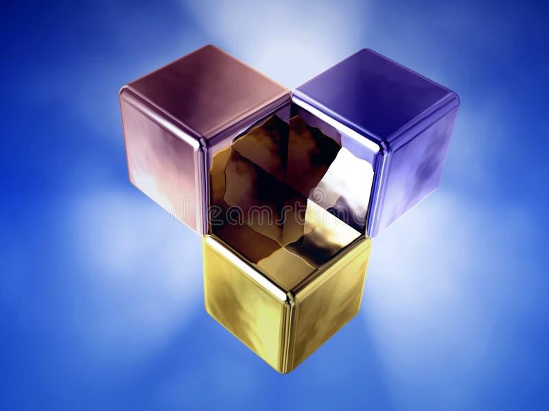 kub glödande tre vektor illustrationer