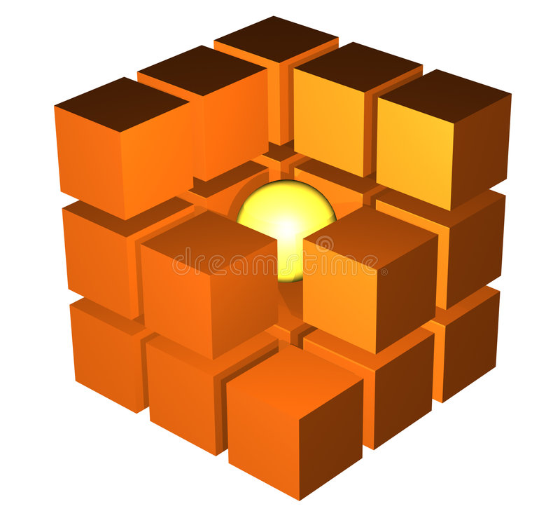 Kub i ett snitt vektor illustrationer