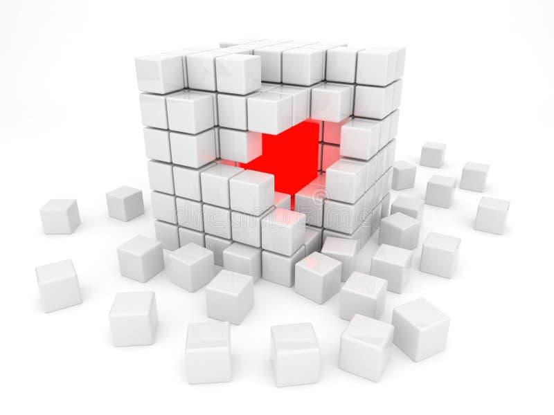 kub isolerad white för kernel 3d royaltyfri illustrationer