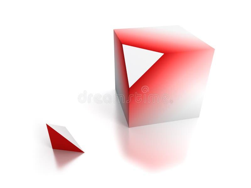 kub klippt av stycke vektor illustrationer