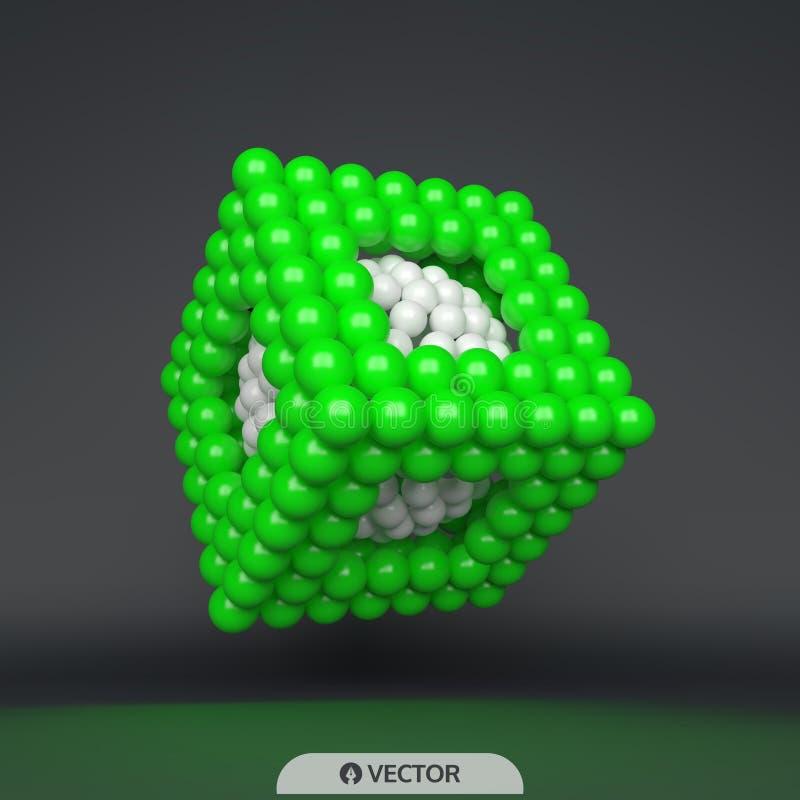 kub sammansättning för sfärer 3d Begrepp för vetenskap, utbildning och nätverk Futuristisk teknologistil stock illustrationer