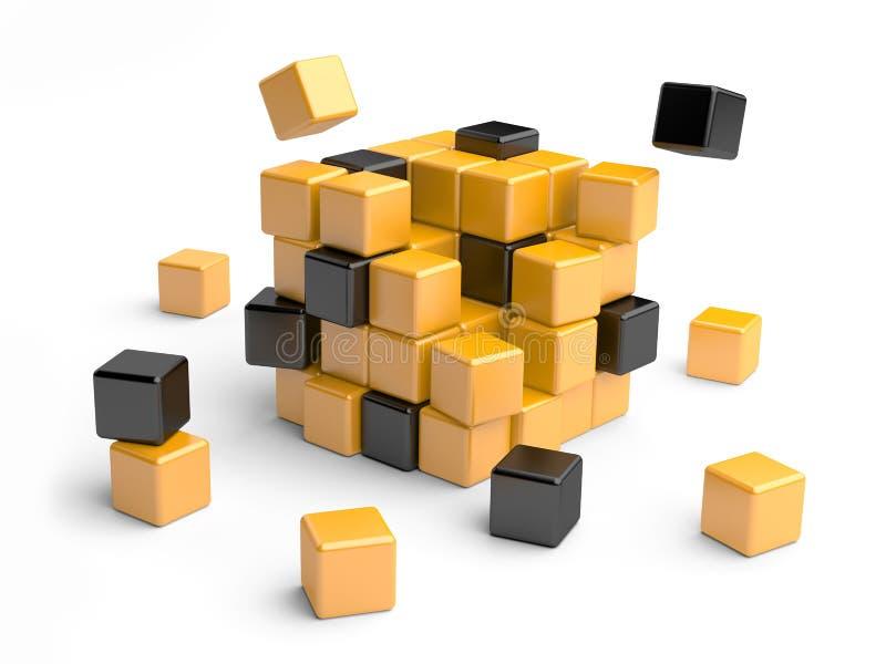 Kub som monterar från kvarter. vektor illustrationer
