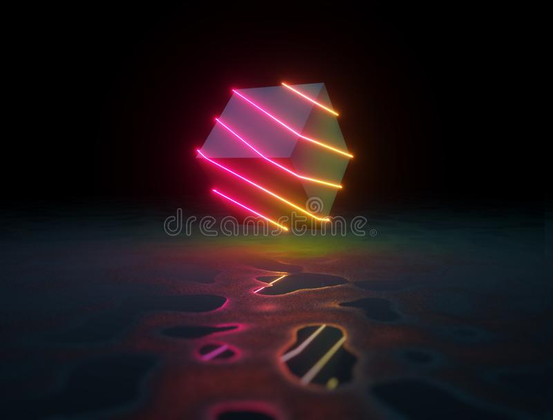 Kub som slås in med glödande ljusa linjer för neon stock illustrationer