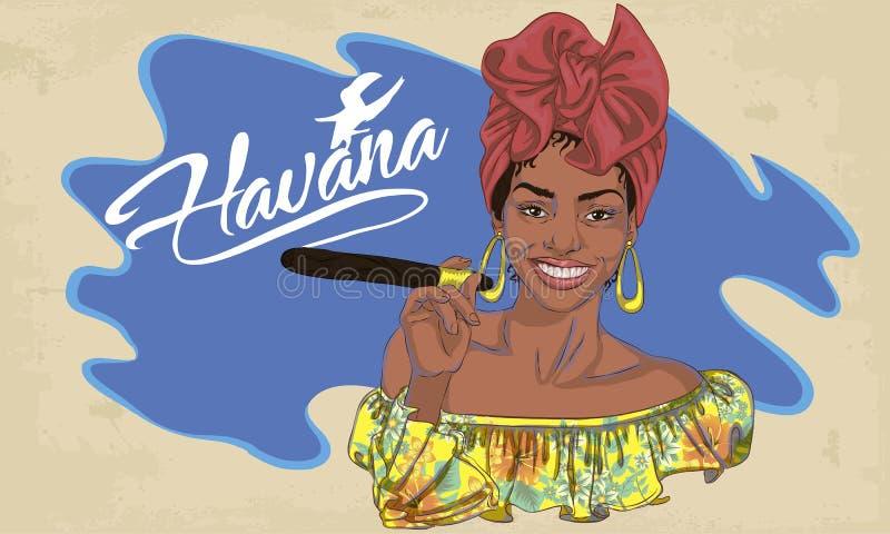 Kubańska kobiety twarz kreskówki wektorowa ilustracja dla muzycznego plakata ilustracja wektor