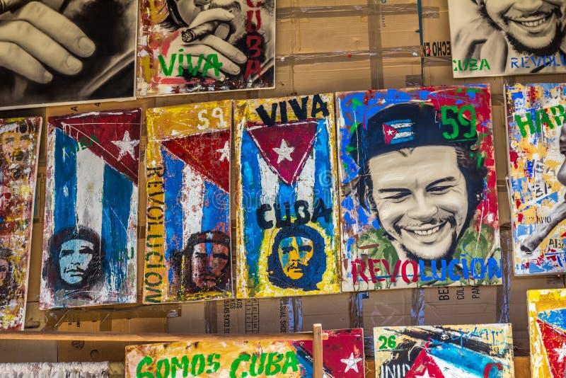 Kubańska sztuka uwypukla Che Guevara dla sprzedaży w Trinidad, Kuba fotografia stock