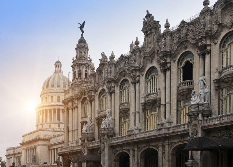 Kuba Capitol budynek i Wielki teatr Hawański fotografia royalty free