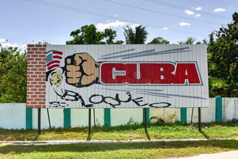 Kuba-Embargo-Zeichen - Cienfuegos, Kuba stockfotografie