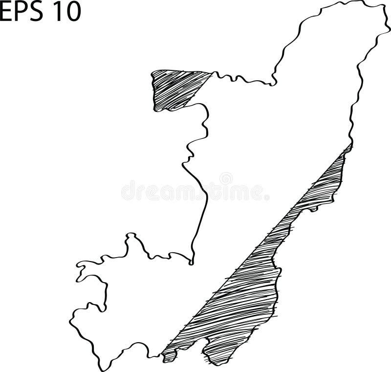 Kuba flaga mapy Wektorowy nakreślenie Up ilustracji