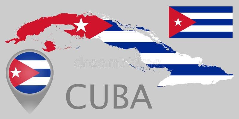Kuba-Flagge, Karte und Kartenzeiger stock abbildung