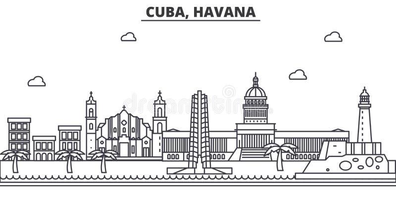 Kuba, Hawańska architektury linii linii horyzontu ilustracja Liniowy wektorowy pejzaż miejski z sławnymi punktami zwrotnymi, mias royalty ilustracja