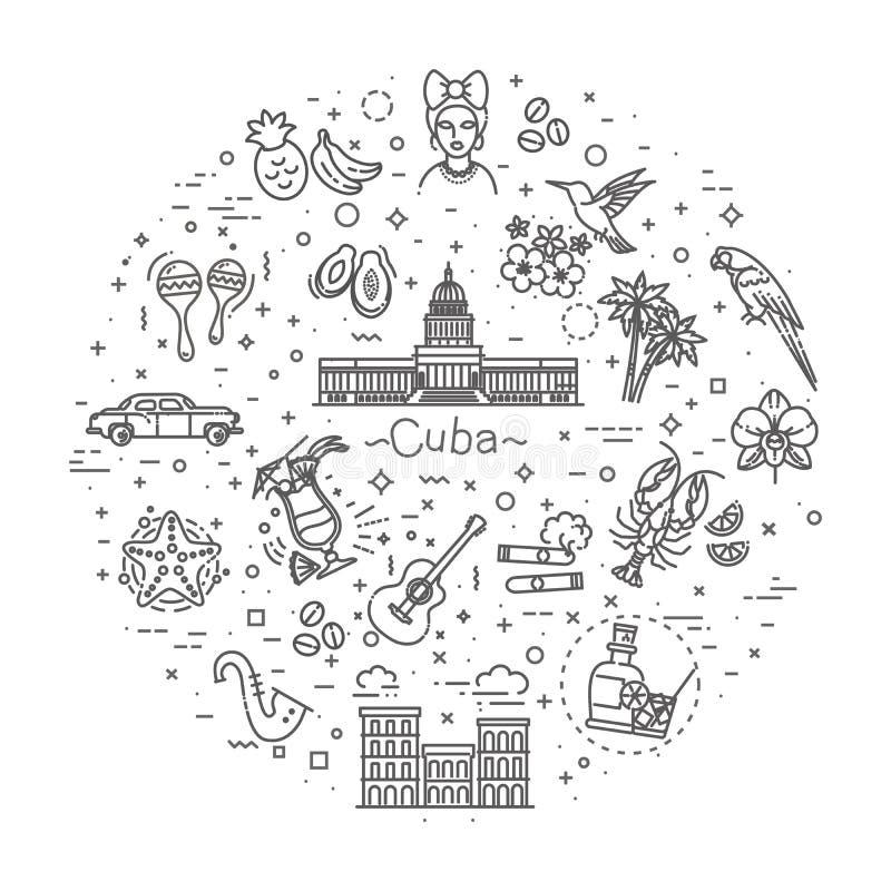 Kuba ikony set ilustracji