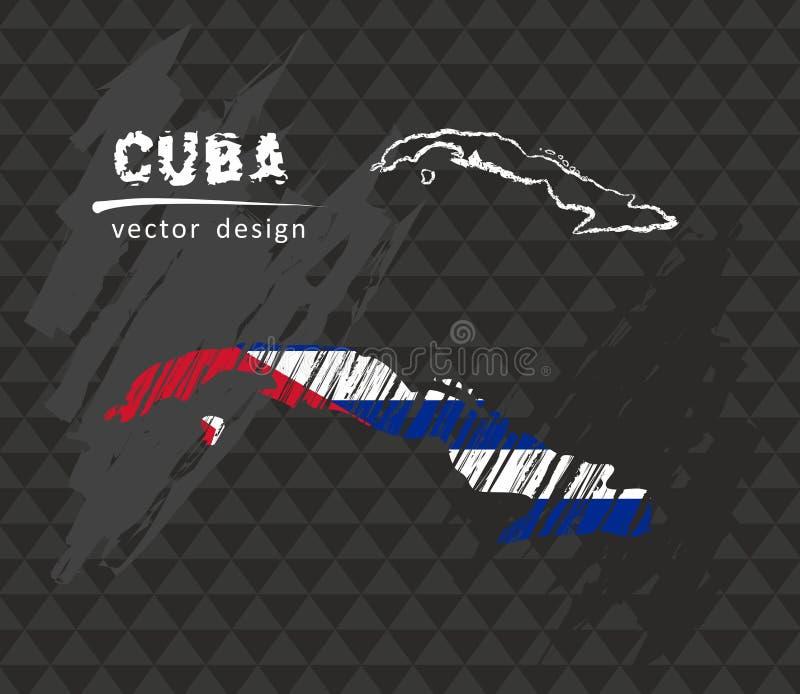 Kuba krajowa wektorowa mapa z nakreślenie kredy flaga Nakreślenie kredy ręka rysująca ilustracja ilustracja wektor