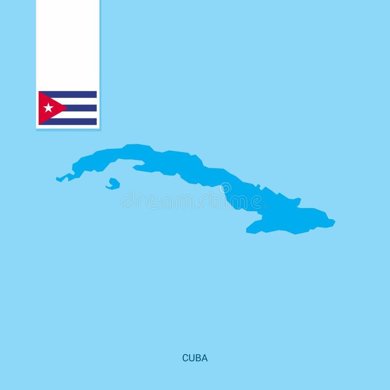 Kuba kraju mapa z flagą nad Błękitnym tłem ilustracja wektor
