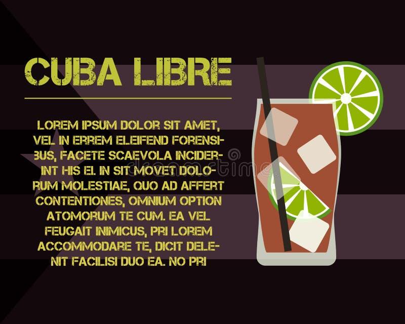 Kuba Libre koktajl z teksta opisem nowożytny ilustracja wektor