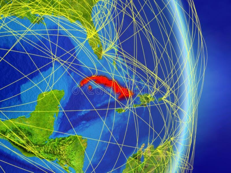 Kuba na planety planety ziemi z siecią Pojęcie łączliwość, podróż i komunikacja, ilustracja 3 d Elementy to royalty ilustracja