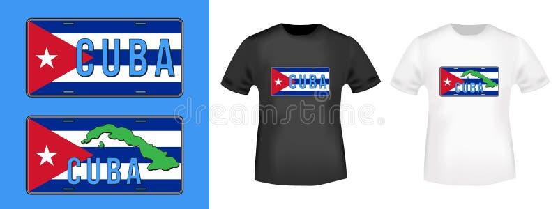 Kuba numerowego talerza samochodowy znaczek i t koszula mockup royalty ilustracja