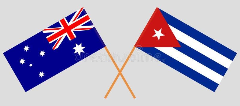 Kuba och Australien De kubanska och australiska flaggorna Officiella f?rger Korrigera proportionen vektor stock illustrationer