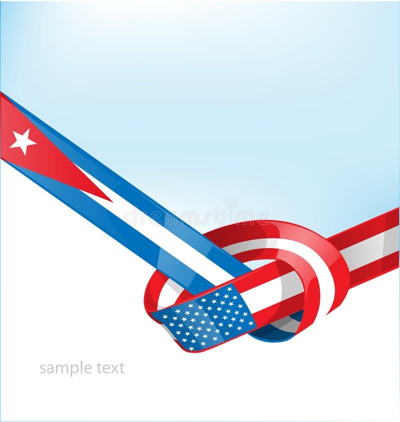 Kuba- och USA-flagga vektor illustrationer