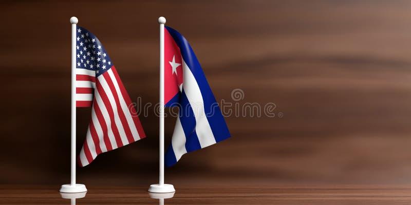 Kuba och USA flaggor på träbakgrund illustration 3d vektor illustrationer