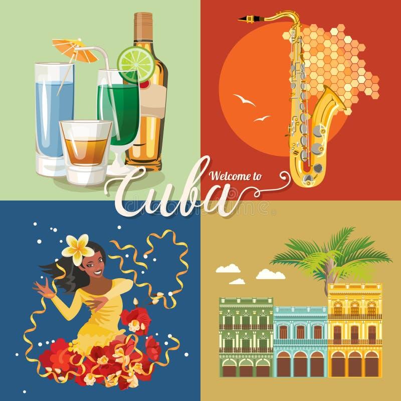 Kuba podróży kolorowy karciany pojęcie Podróżuje plakat z rom, tancerzem, Hawańskiego i salsa Wektorowa ilustracja z Kubańską kul royalty ilustracja