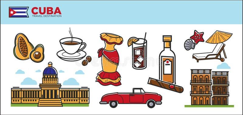 Kuba podróży miejsca przeznaczenia promocyjny plakat z krajów symbolami royalty ilustracja