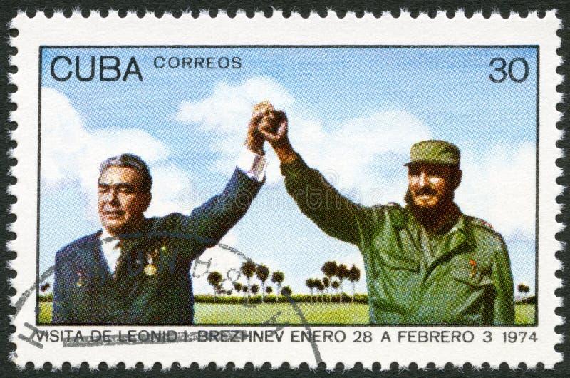 KUBA - 1974: shower Leonid Brezhnev och Fidel Castro arkivbilder