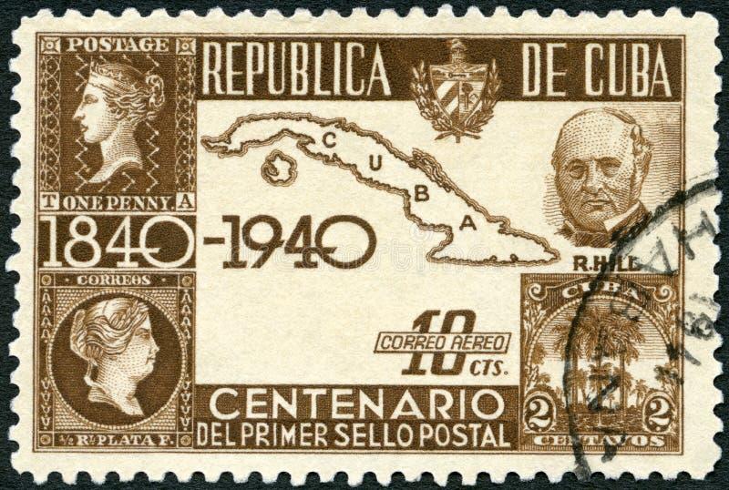 KUBA - 1939: Shows Sir Rowland Hill 1795-1879, Karte von Kuba und erste Stempel lizenzfreies stockbild