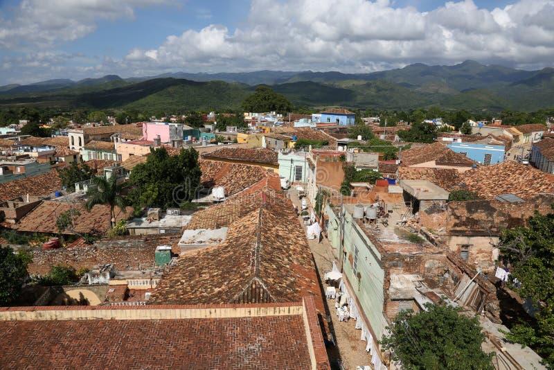 Kuba, Trinidad, Dachoberteile stockbilder