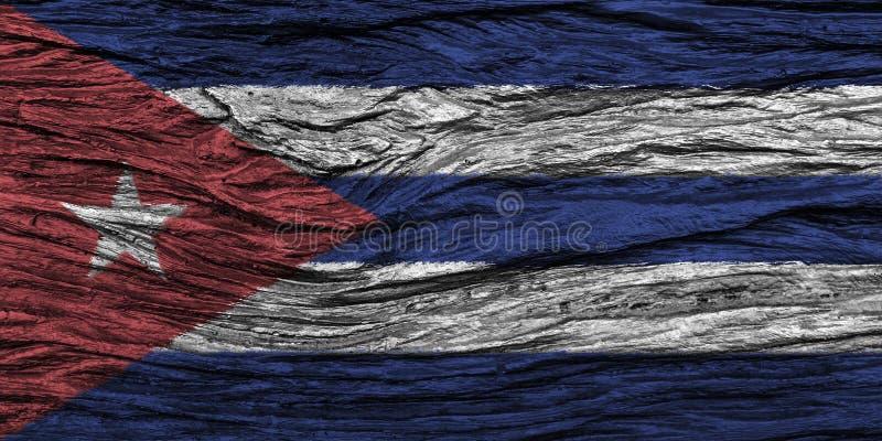 Kubaflagga med den höga detaljen av gammal träbakgrund royaltyfri illustrationer