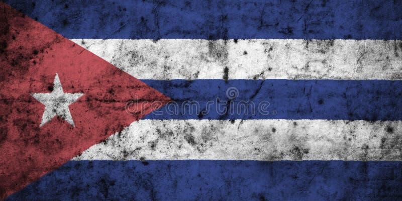 Kubaflagga med den höga detaljen av gammalt smutsigt skrynkligt papper royaltyfri illustrationer