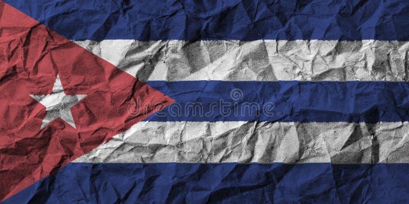 Kubaflagga med den höga detaljen av skrynkligt papper stock illustrationer