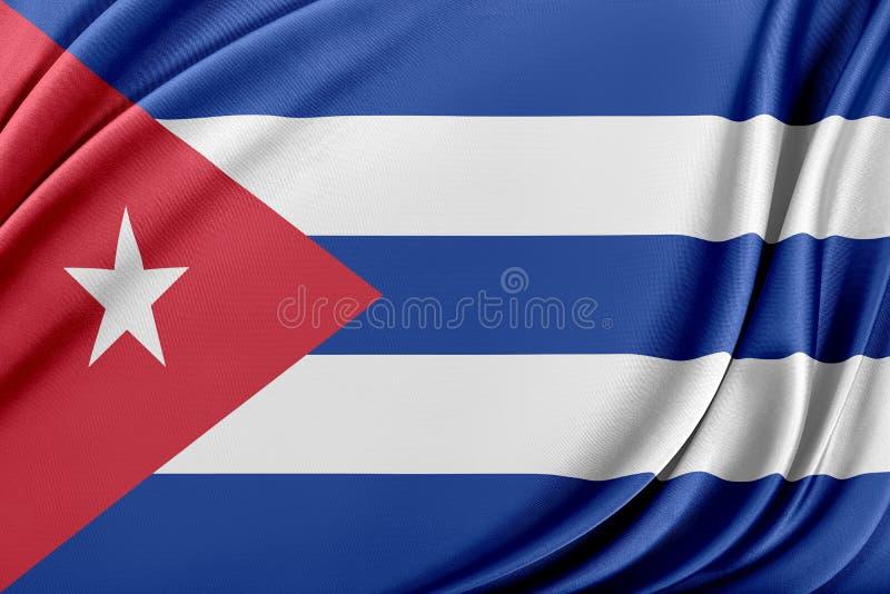 Kubaflagga med en glansig siden- textur royaltyfri illustrationer