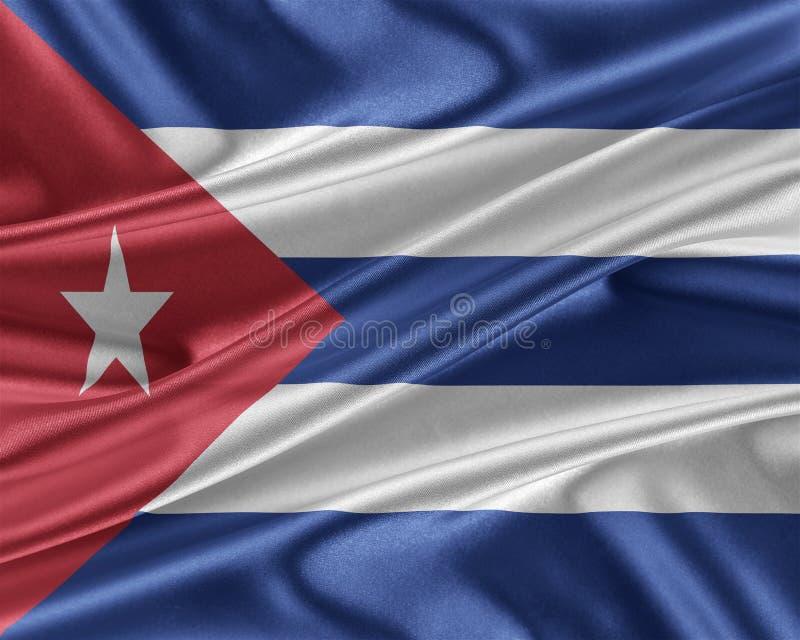 Kubaflagga med en glansig siden- textur stock illustrationer