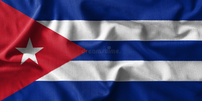 Kubaflaggamålning på den höga detaljen av vågbomullstyger stock illustrationer