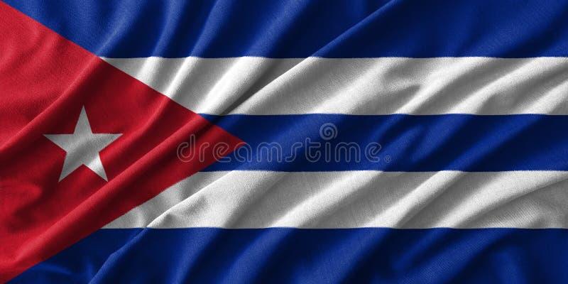 Kubaflaggamålning på den höga detaljen av vågbomullstyger vektor illustrationer