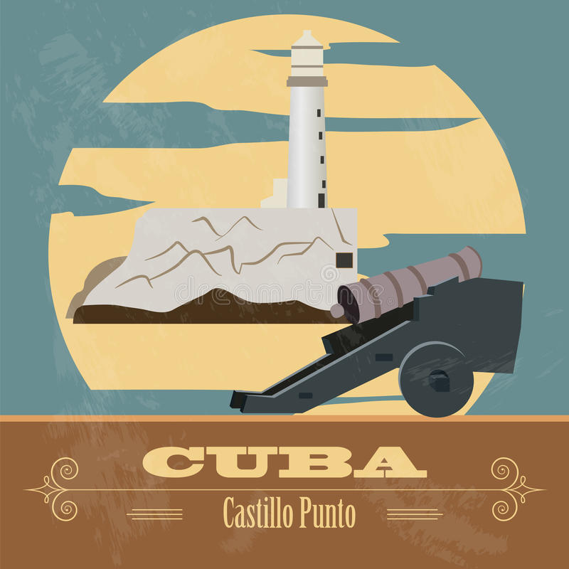 Kubagränsmärken Retro utformad bild royaltyfri illustrationer