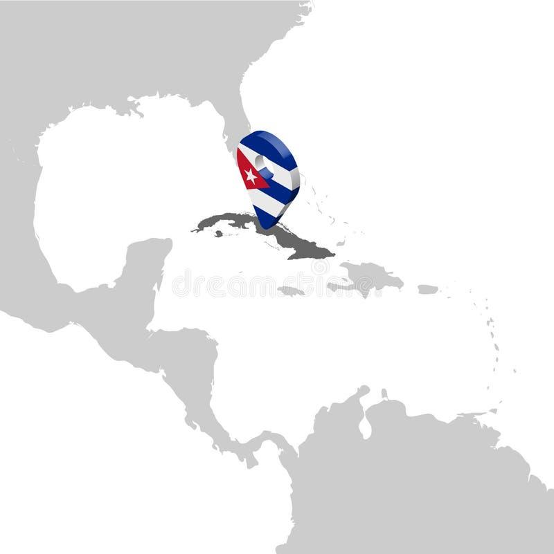 Kubalägeöversikt på översikten Central America för flaggaöversikt för Kuba 3d stift för läge för markör H?gkvalitativ ?versikt av vektor illustrationer