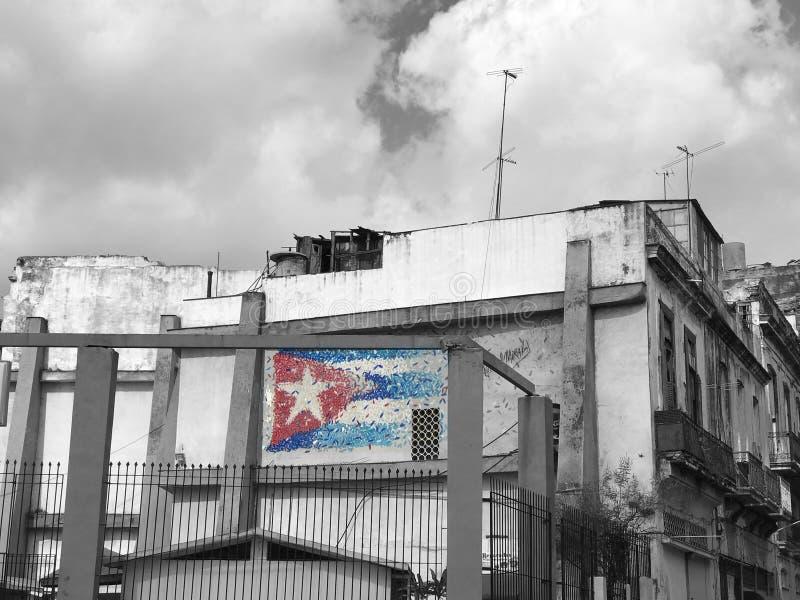 Kubanische Flagge - Schwarzweiss stockfotos