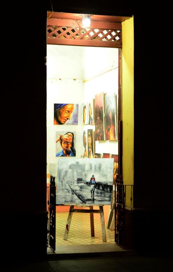 Kubansk konst shoppar på natten cuba trinidad royaltyfria foton