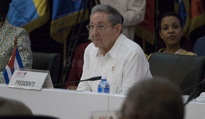 Kubansk president Raul Castro på öppningen av det 22nd mötet av anslutningen av det ministeriella rådet för karibiska tillstånd fotografering för bildbyråer