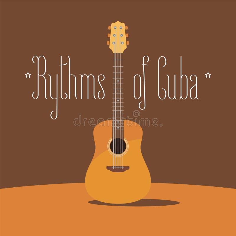 Kubansk vektorillustration för akustisk gitarr vektor illustrationer
