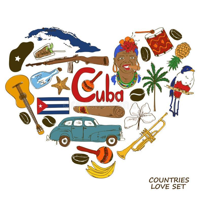 Kubanska symboler i hjärtaformbegrepp vektor illustrationer